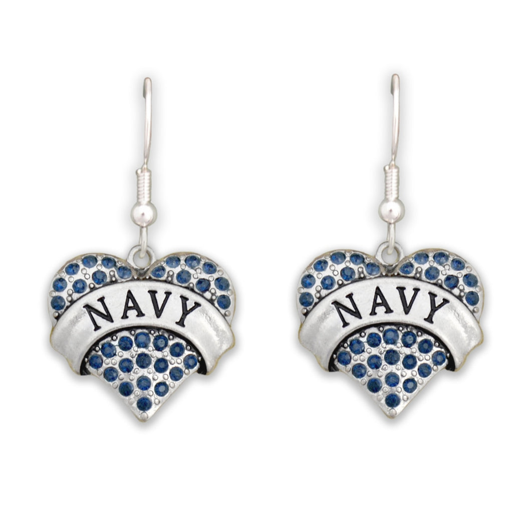 U.S. Navy Crystal Heart Charm Earrings