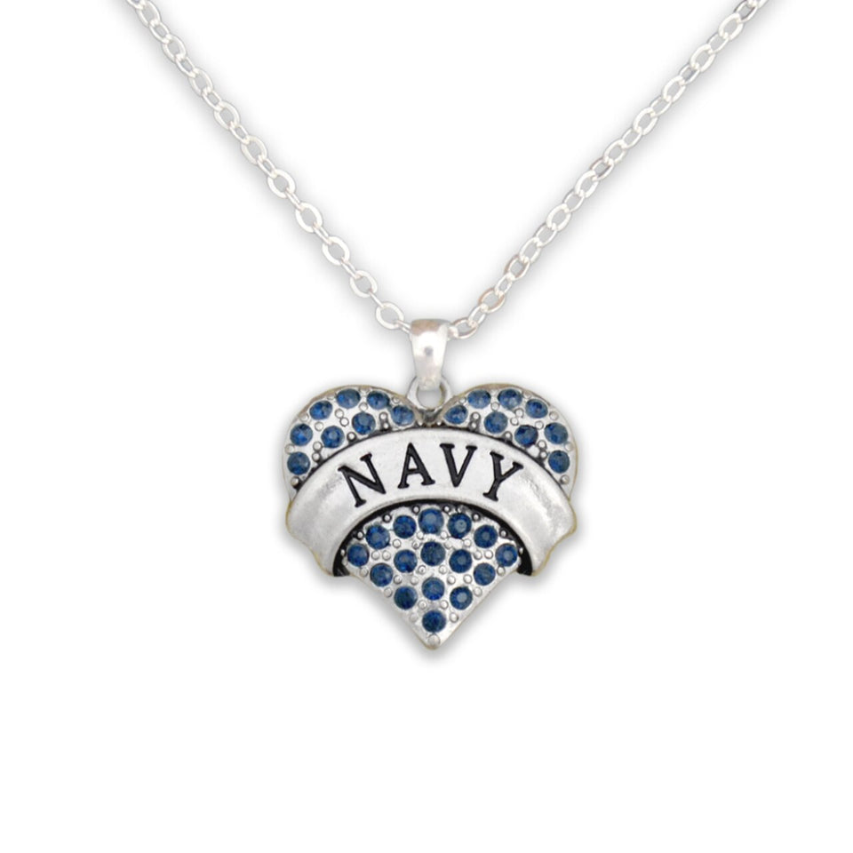 U.S. Navy Heart Crystal Charm Necklace