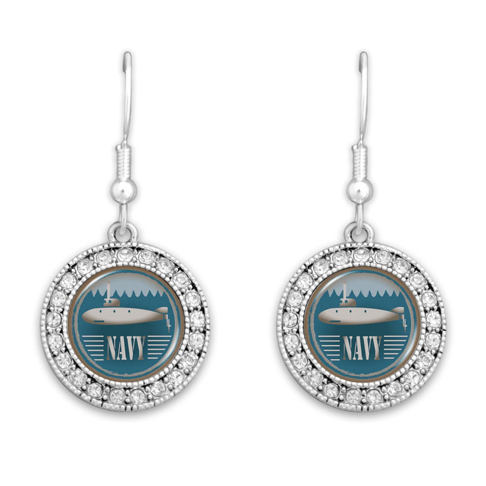 U.S. Navy Round Crystal Charm Artisan Earrings