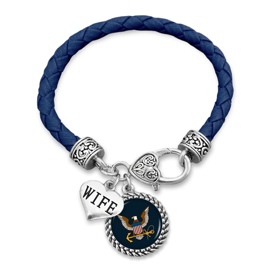 U.S. Navy Wife Accent Charm Leather Bracelet