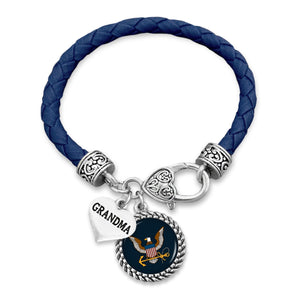 U.S. Navy Round Charm Leather Bracelet with Grandma Accent Pendant