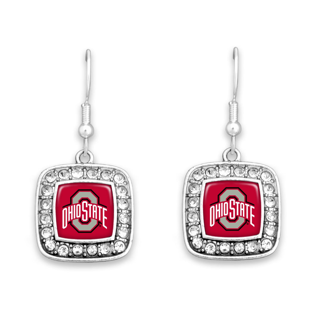 Ohio State Buckeyes Square Crystal Charm Kassi Earrings