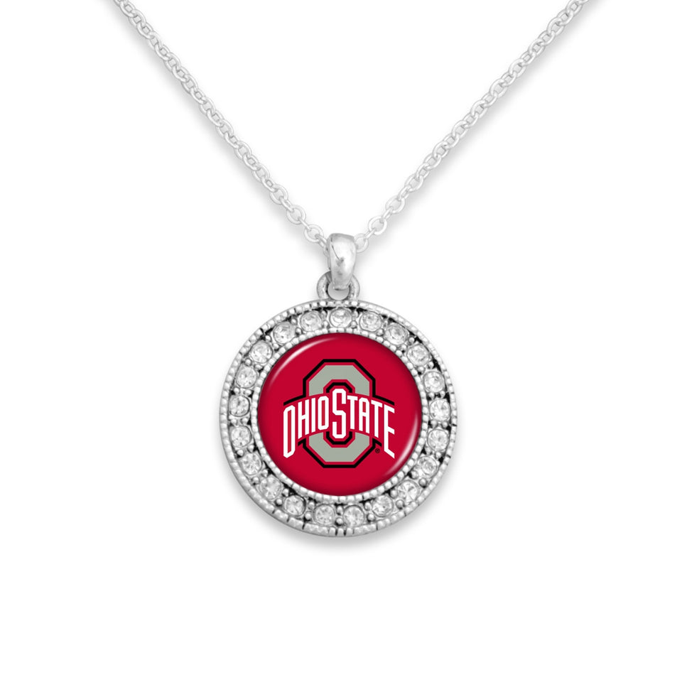 Ohio State Buckeyes Kenzie Round Crystal Charm Necklace