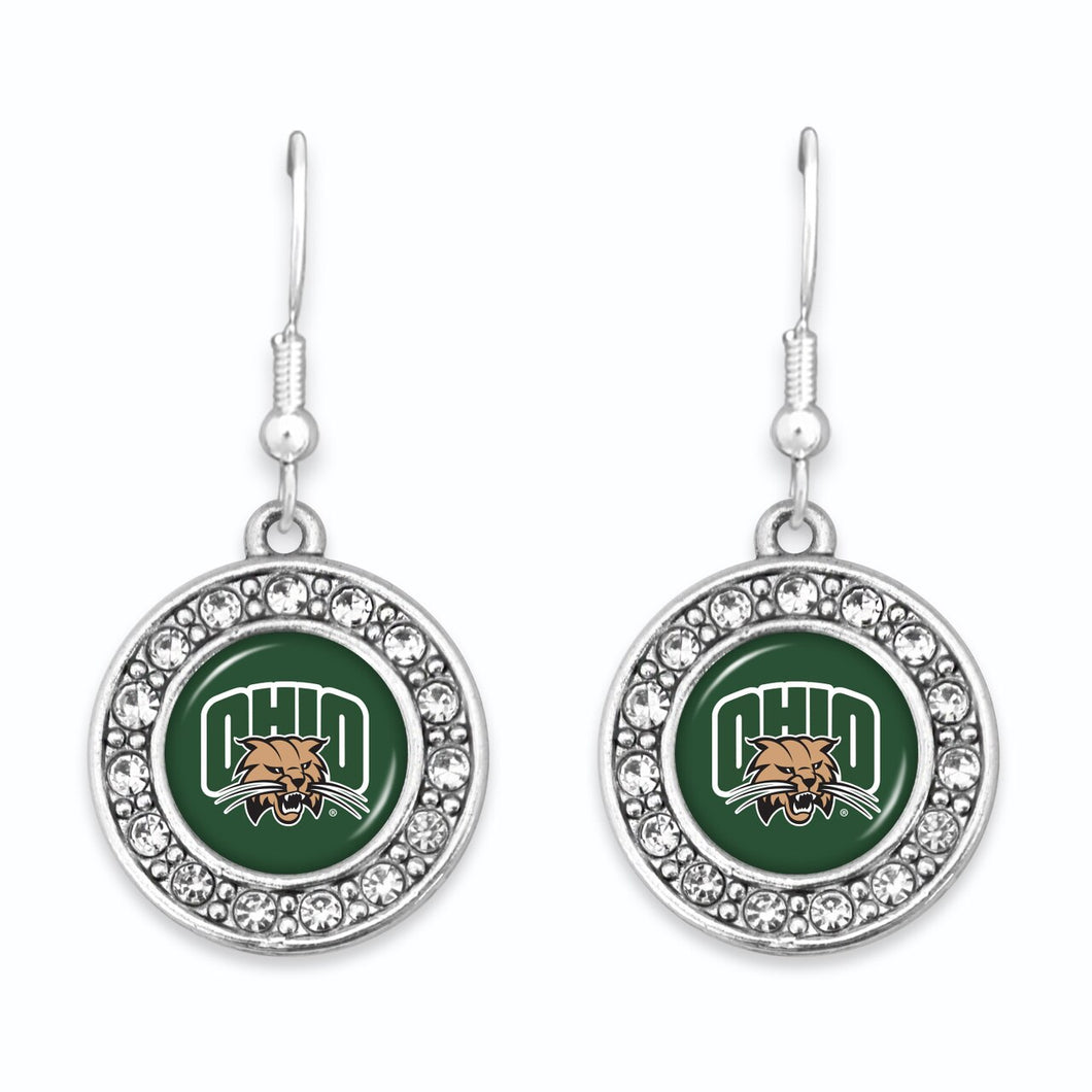 Ohio Bobcats Abby Girl Round Crystal Earrings