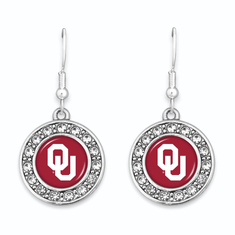 Oklahoma Sooners Abby Girl Round Crystal Earrings