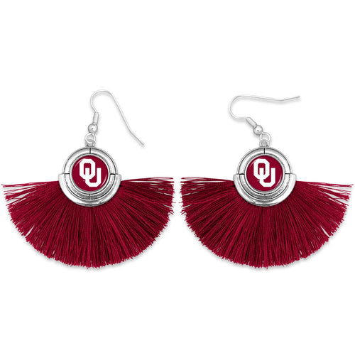 Oklahoma Sooners Tassel Earrings