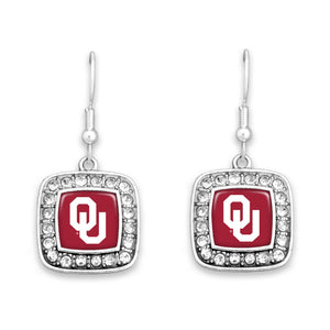 Oklahoma Sooners Square Crystal Charm Kassi Earrings