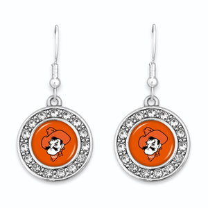 Oklahoma State Cowboys Abby Girl Round Crystal Earrings