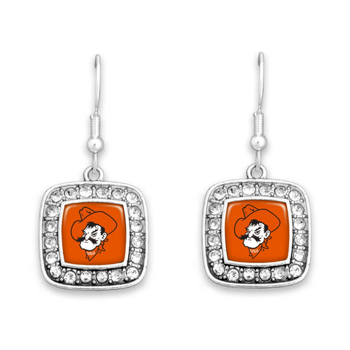 Oklahoma State Cowboys Square Crystal Charm Kassi Earrings