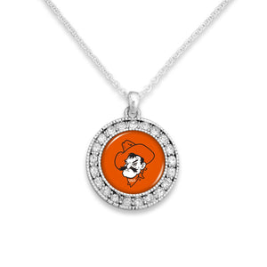 Oklahoma State Cowboys Kenzie Round Crystal Charm Necklace