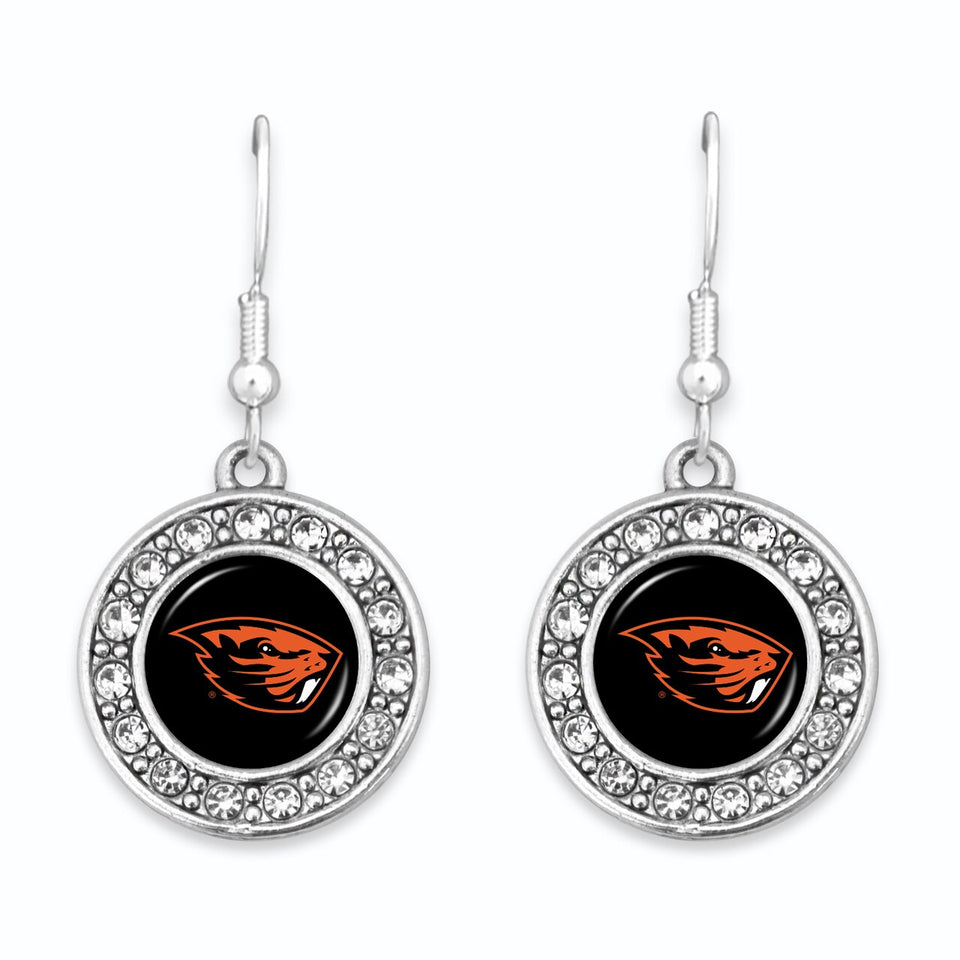 Oregon State Beavers Abby Girl Round Crystal Earrings