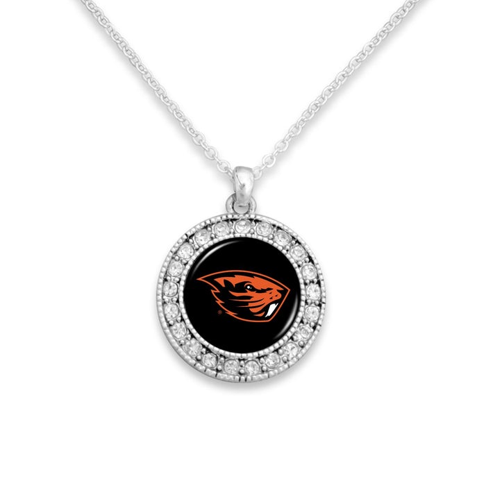 Oregon State Beavers Kenzie Round Crystal Charm Necklace