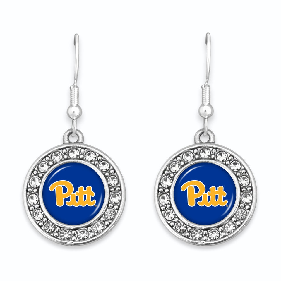 Pittsburgh Panthers Abby Girl Round Crystal Earrings