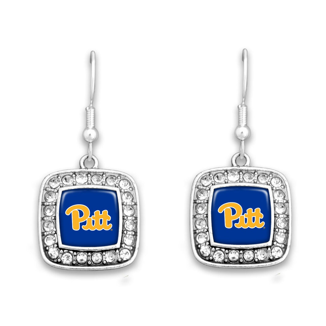 Pittsburgh Panthers Square Crystal Charm Kassi Earrings