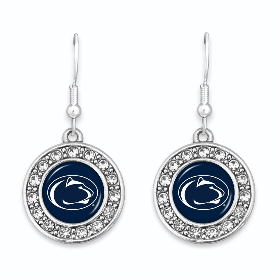 Penn State Nittany Lions Abby Girl Round Crystal Earrings