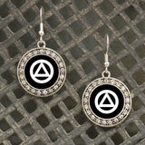 Alcoholics Anonymous Recovery Crystal Charm Earrings