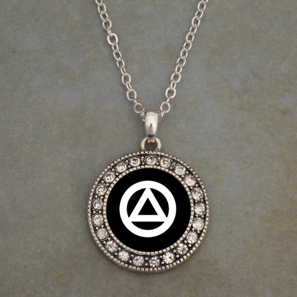 Alcoholics Anonymous Recovery Crystal Charm Necklace
