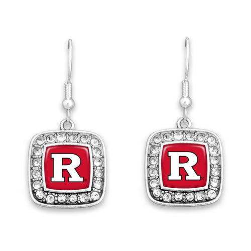 Rutgers Scarlet Knights Square Crystal Charm Kassi Earrings