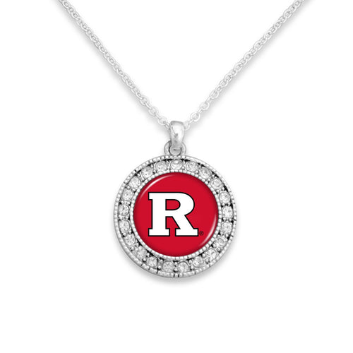 Rutgers Scarlet Knights Kenzie Round Crystal Charm Necklace