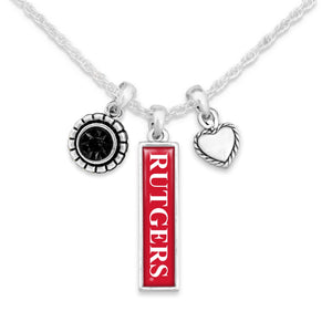 Rutgers Scarlet Knights Triple Charm Necklace