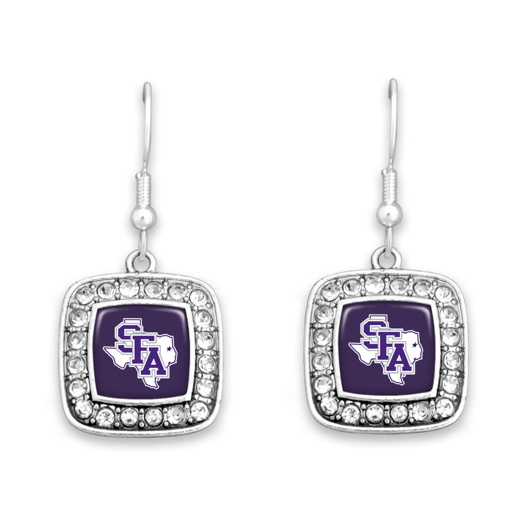 Stephen F. Austin State Lumberjacks Square Crystal Charm Kassi Earrings