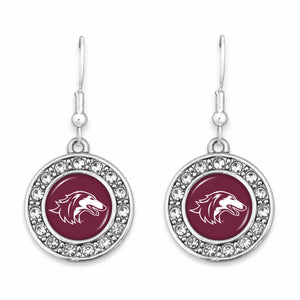 Southern Illinois Salukis Abby Girl Round Crystal Earrings