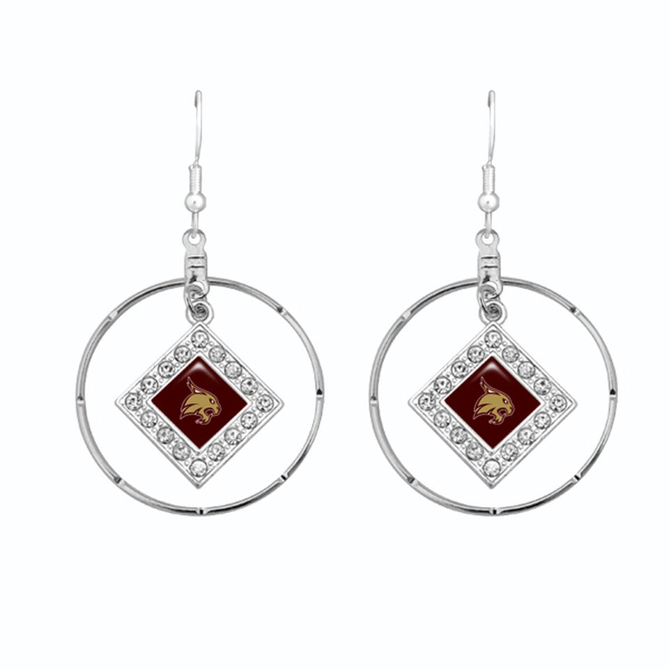 Texas State Bobcats Silver Hoop Earrings