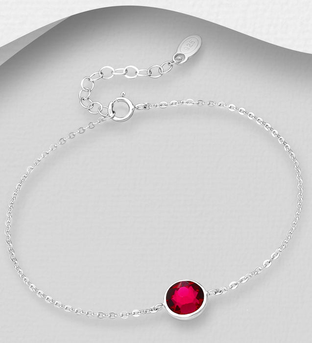 Sterling Silver Bracelet Decorated with Authentic Swarovski® Crystal