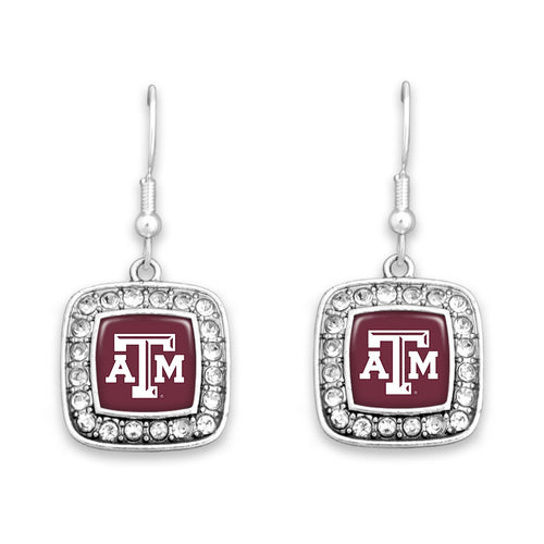 Texas A&M Aggies Square Crystal Charm Kassi Earrings