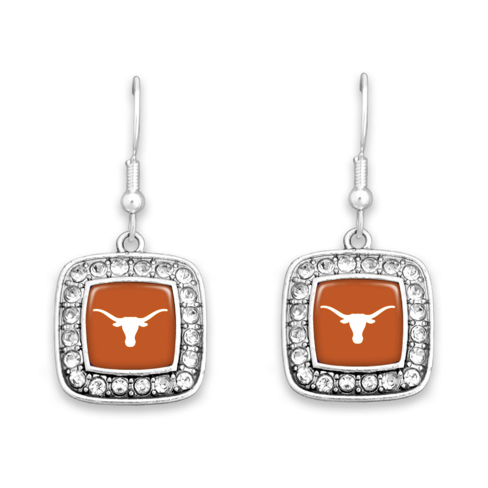 Texas Longhorns Square Crystal Charm Kassi Earrings