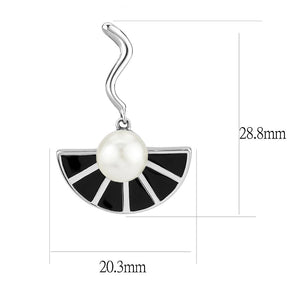 High Polished Stainless Steel Synthetic Glass White & Black and Pearl Charm Drop Earring