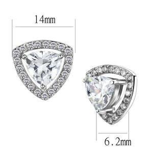 High Polished Stainless Steel AAA Grade CZ Clear Stud Earring