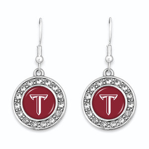 Troy Trojans Abby Girl Round Crystal Earrings