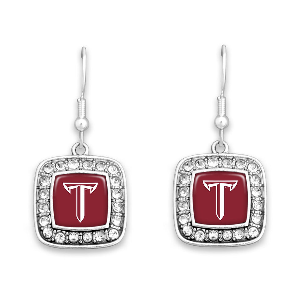 Troy Trojans Square Crystal Charm Kassi Earrings