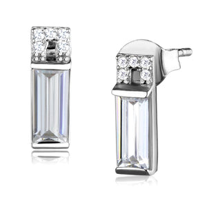 Rhodium 925 Sterling Silver Clear Stud Earrings with AAA Grade CZ