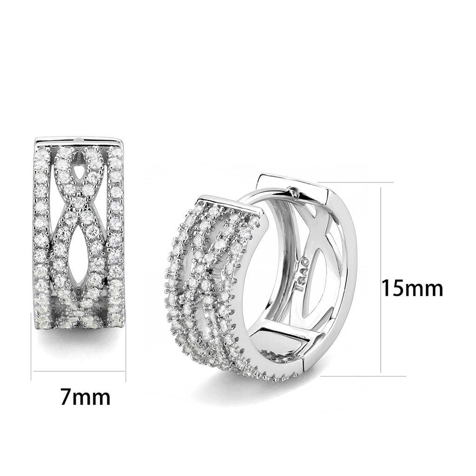 Rhodium 925 Sterling Silver Clear Earrings with AAA Grade CZ
