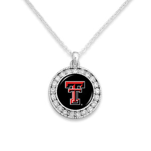 Texas Tech Raiders Kenzie Round Crystal Charm Necklace