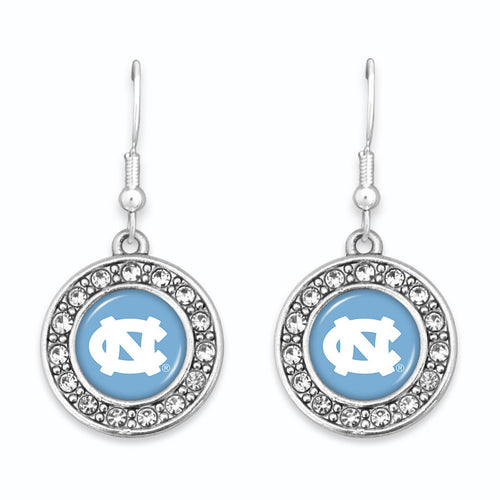 North Carolina Tar Heels Abby Girl Round Crystal Earrings