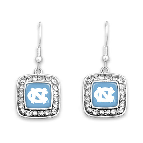 North Carolina Tar Heels Square Crystal Charm Kassi Earrings