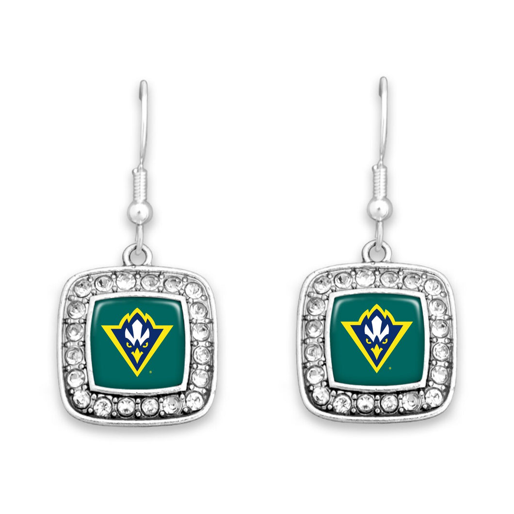UNC Wilmington Seahawks Square Crystal Charm Kassi Earrings