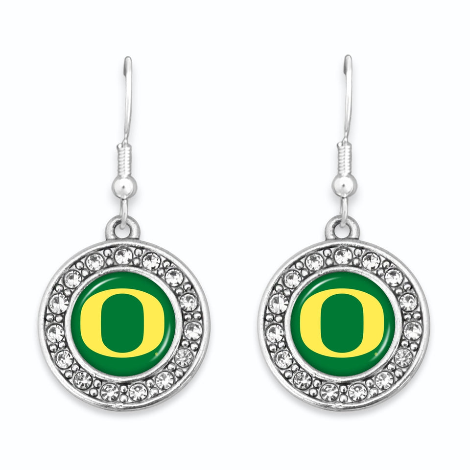 Oregon Ducks Abby Girl Round Crystal Earrings