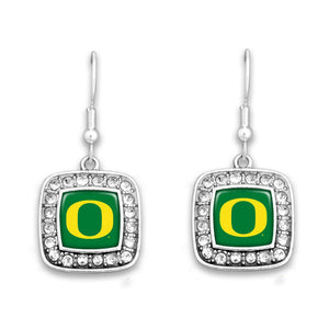 Oregon Ducks Square Crystal Charm Kassi Earrings