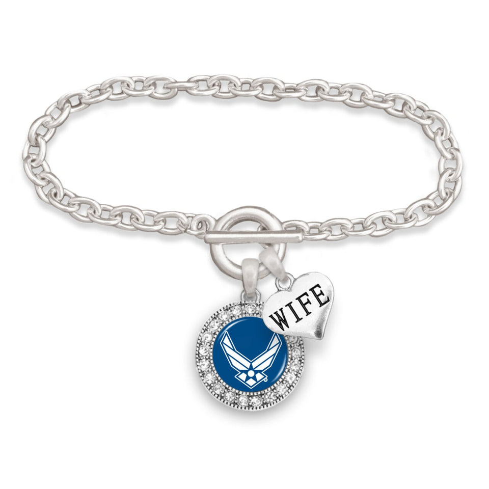 U.S. Air Force Wife Accent Round Crystal Charm Bracelet