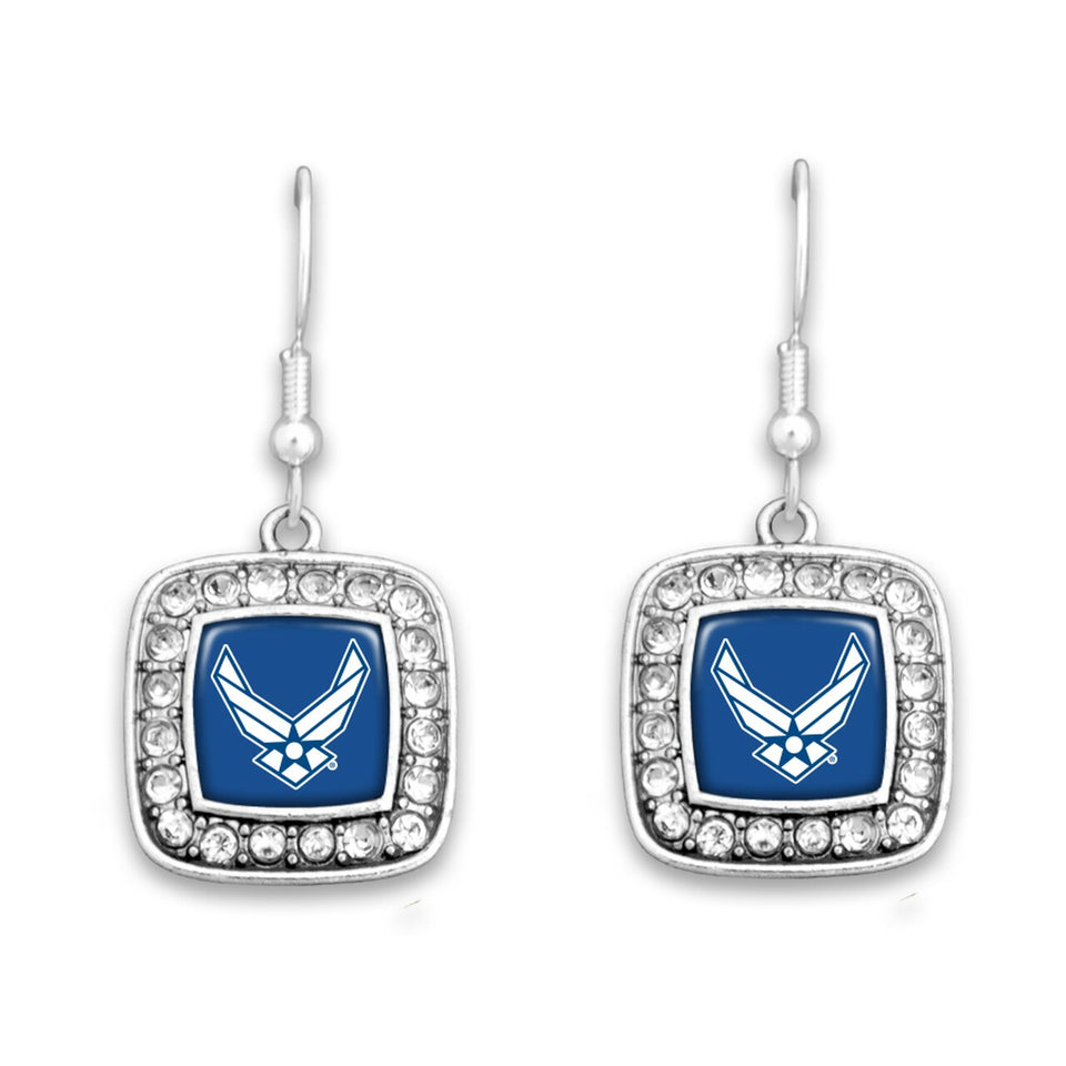 U.S. Air Force Square Crystal Charm Earrings