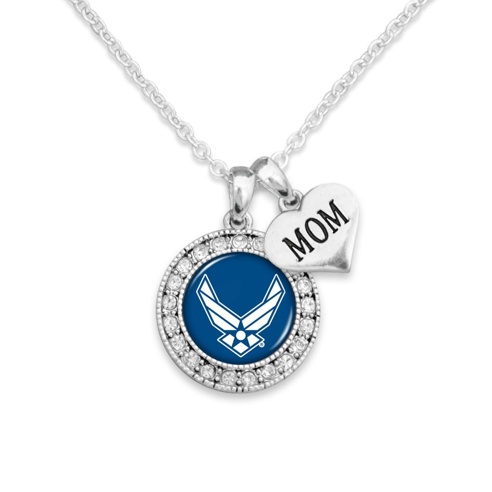 U.S. Air Force Mom Accent Charm Round Crystal Necklace