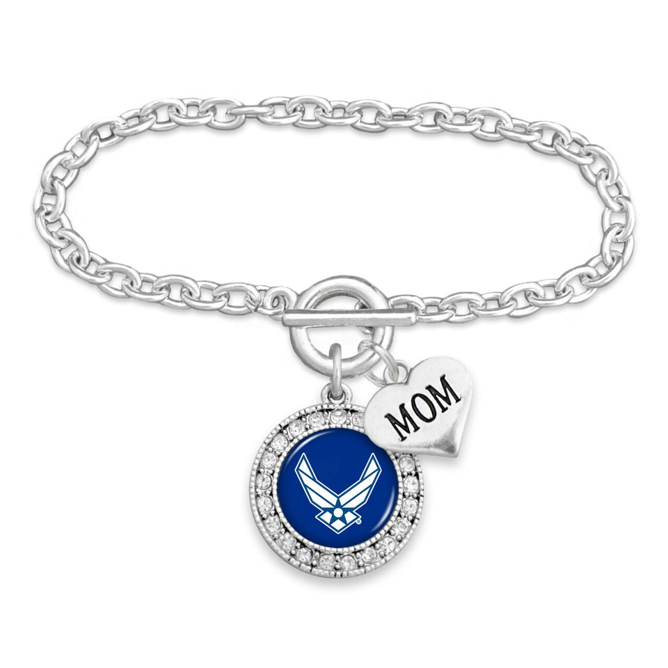 U.S. Air Force Mom Accent Round Crystal Charm Bracelet