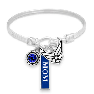 U.S. Air Force Vertical Mom Triple Charm Bracelet