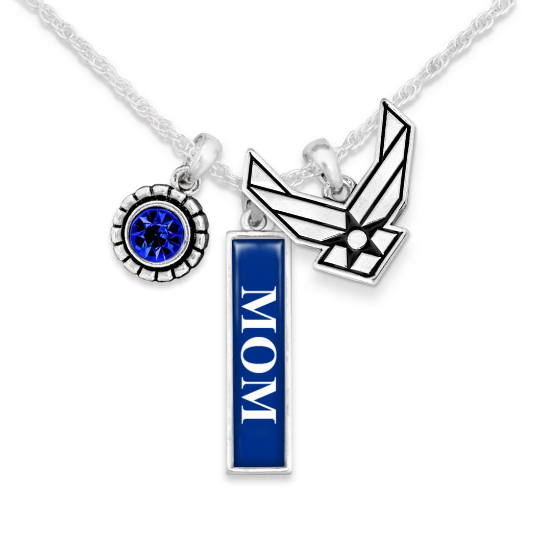 U.S. Air Force Triple Charm Necklace with Vertical Accent for Mom