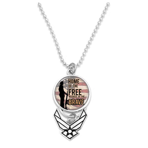 U.S. Air Force Home of the Brave (Soldier) with Silver Logo Car Charm