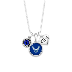 U.S. Air Force Triple Charm Necklace for Wife